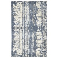 Modern Hand Knotted Wool / Silk Charcoal 5' x 8' Rug - rh000183