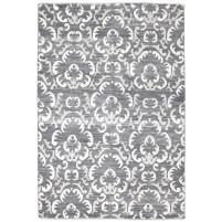 Modern Hand Knotted Wool / Silk Charcoal 5' x 8' Rug - rh000187
