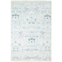 Modern Hand Knotted Wool / Silk Blue 5' x 8' Rug - rh000188