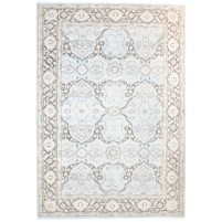 Traditional Hand Knotted Wool Blue 6' x 9' Rug - rh000191