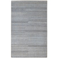Modern Hand Knotted Wool / Silk Charcoal 5' x 8' Rug - rh000210