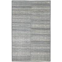 Modern Hand Knotted Wool / Silk Charcoal 5' x 8' Rug - rh000212