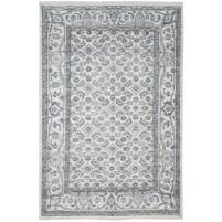 Modern Hand Knotted Wool / Silk Ivory 5' x 8' Rug - rh000213