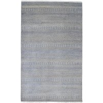 Modern Hand Knotted Wool Charcoal 5' x 8' Rug - rh000224