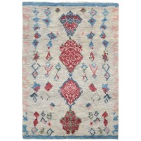 Modern Hand Knotted Wool Ivory 5' x 7' Rug - rh000225