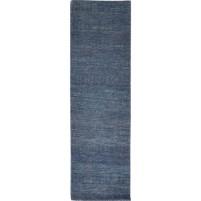 Modern Hand Knotted Wool Blue 2' x 7' Rug - rh000245