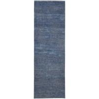 Modern Hand Knotted Wool Blue 2' x 7' Rug - rh000246