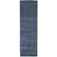 Modern Hand Knotted Wool Blue 2' x 7' Rug - rh000247
