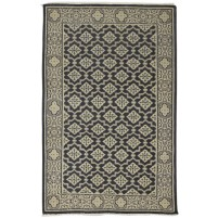 Traditional Hand Knotted Wool Black 4' x 6' Rug - rh000276