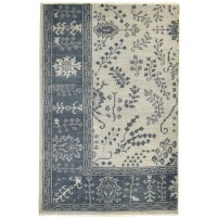 Traditional Hand Knotted Wool Ivory 5' x 6' Rug - rh000280