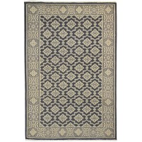 Traditional Hand Knotted Wool Black 4' x 6' Rug - rh000284