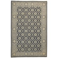 Traditional Hand Knotted Wool Black 4' x 6' Rug - rh000289