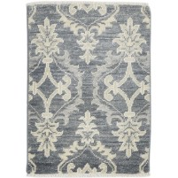 Traditional Hand Knotted Wool / Silk Charcoal 2' x 3' Rug - rh000304