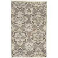 Modern Hand Knotted Wool Brown 2' x 3' Rug - rh000307