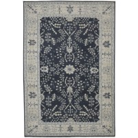 Traditional Hand Knotted Wool Black 6' x 9' Rug - rh000492