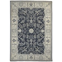 Traditional Hand Knotted Wool Black 5' x 8' Rug - rh000493
