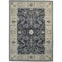 Traditional Hand Knotted Wool Black 5' x 7' Rug - rh000495