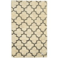 Modern Hand Knotted Wool Ivory 3' x 5' Rug - rh000502