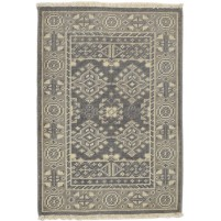 Traditional Hand Knotted Wool Charcoal 2' x 3' Rug - rh000573