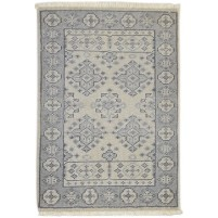 Traditional Hand Knotted Wool Ivory 2' x 3' Rug - rh000580