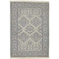 Traditional Hand Knotted Wool Ivory 2' x 3' Rug - rh000583