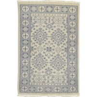 Traditional Hand Knotted Wool Ivory 2' x 3' Rug - rh000591