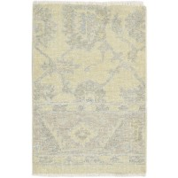 Traditional Hand Knotted Wool Ivory 2' x 3' Rug - rh000594
