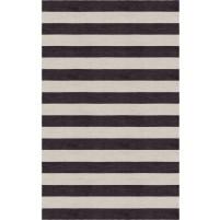 Handmade Silver Charcoal HSTR-1001  Stripe Rugs 5'X8'