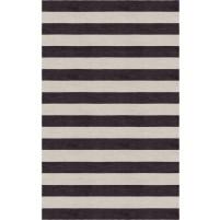 Handmade Silver Charcoal HSTR-1001  Stripe Rugs 8'X10'