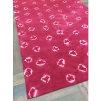 Handmade Woolen Shibori Pink Area Rug t-005 5x8