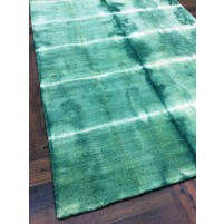 Handmade Woolen Shibori Green Area Rug t-008 5x8