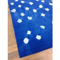 Handmade Woolen Shibori Blue Area Rug t-337 5x8