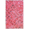 Handmade Leather Pink / Brown Rug 5x8 JAK104