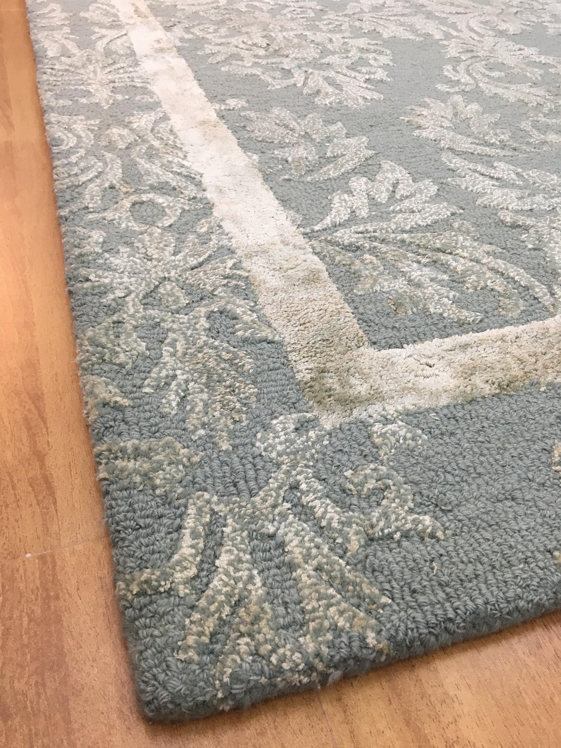 Handmade Wool Viscose Persian Blue Sage 5x8 Lt1045 Area Rug